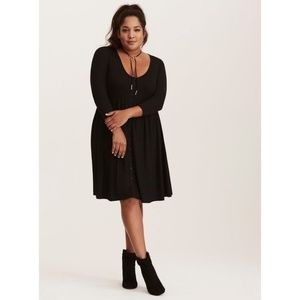 Torrid Black Jersey  Button Front  Dress size 0x